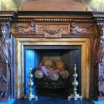 Restored early-18th-century fireplace aat Moor Park house, Rickmansworth, Hertfordshire