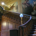 Restored early-18th-century staircase and panelling at Moor Park house, Rickmansworth, Hertfordshire