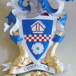 Coat of arms in polychromed lime wood for Sir Mark Lennox-Boyd of the Fishmongers' Company