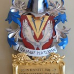Coat of arms in polychromed lime wood for John Bennett Esq of the Fishmongers' Company