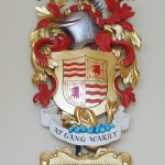Coat of arms in polychromed lime wood for Maldwin Drummond, Prime Warden of the Fishmongers' Company