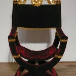 Throne in oak with carved and gilded limewood top for a production of 'Richard III'