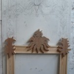 Carving blanks placed onto frame