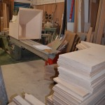 CNC machined Birch Ply panels at workshop