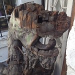 Dragon head before restoration showing the extent of the rot and missing Timber